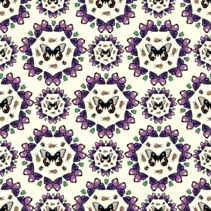 Symmetric seamless pattern with bugs, beetles, and butterflies.