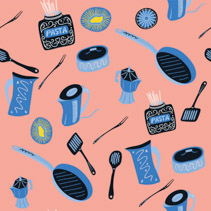 Colorful hand drawn cooking utensils and cutlery seamless pattern