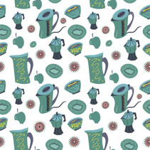 Seamless pattern of kitchen appliances and fruits illustration