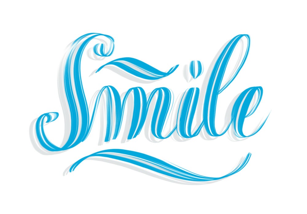 The word Smile written in blue with shadow - elegant motivational hand lettering